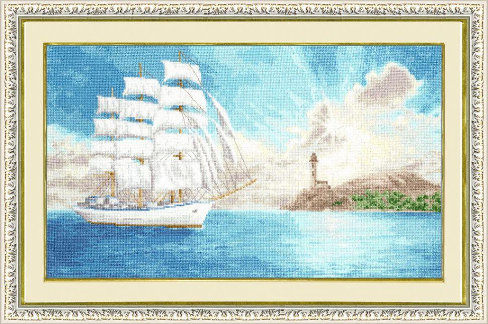 Корабль парусник в вышивке 424